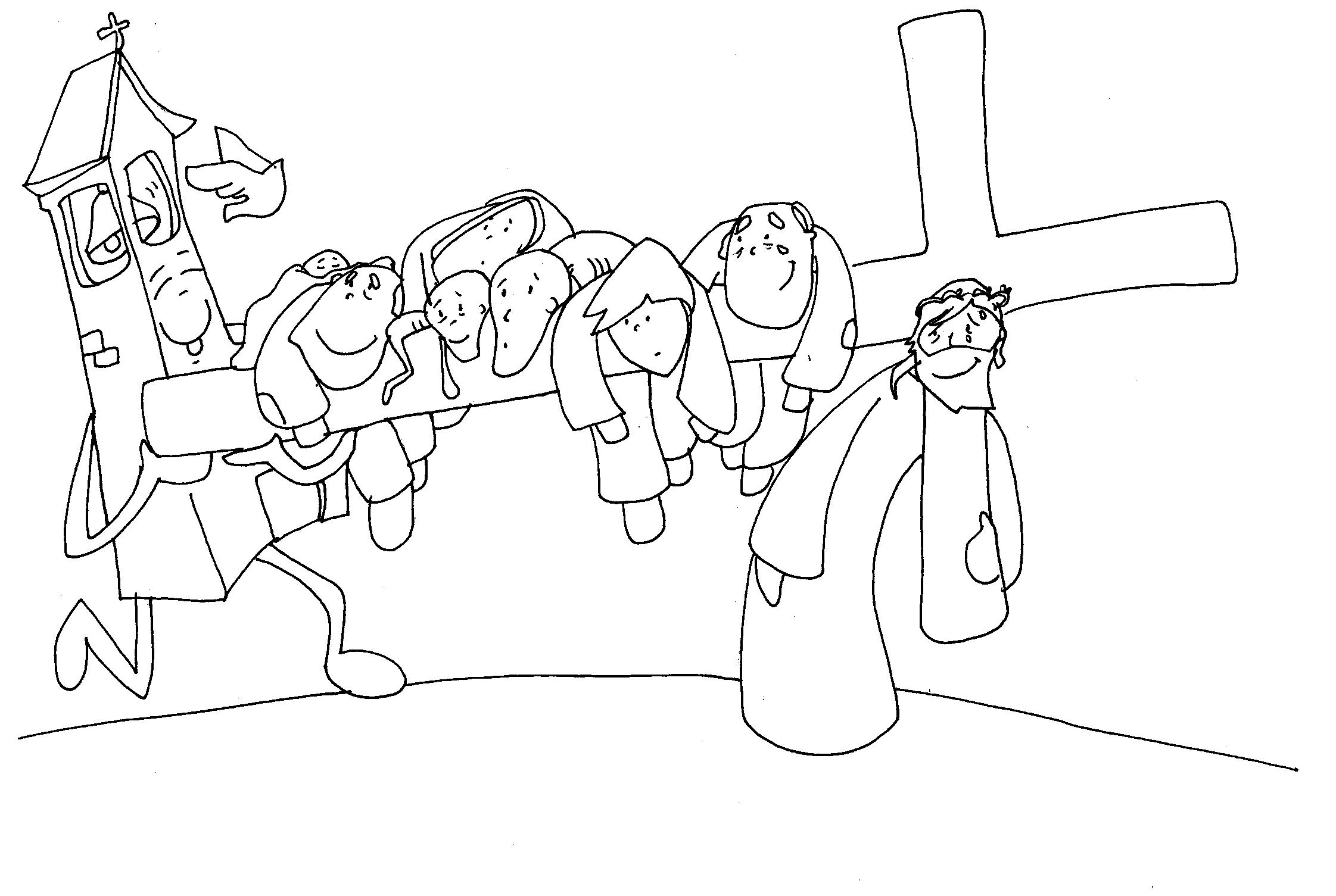 MATERIALES DE RELIGIÓN CATÓLICA: Vía Crucis de Fano para colorear (B/N)