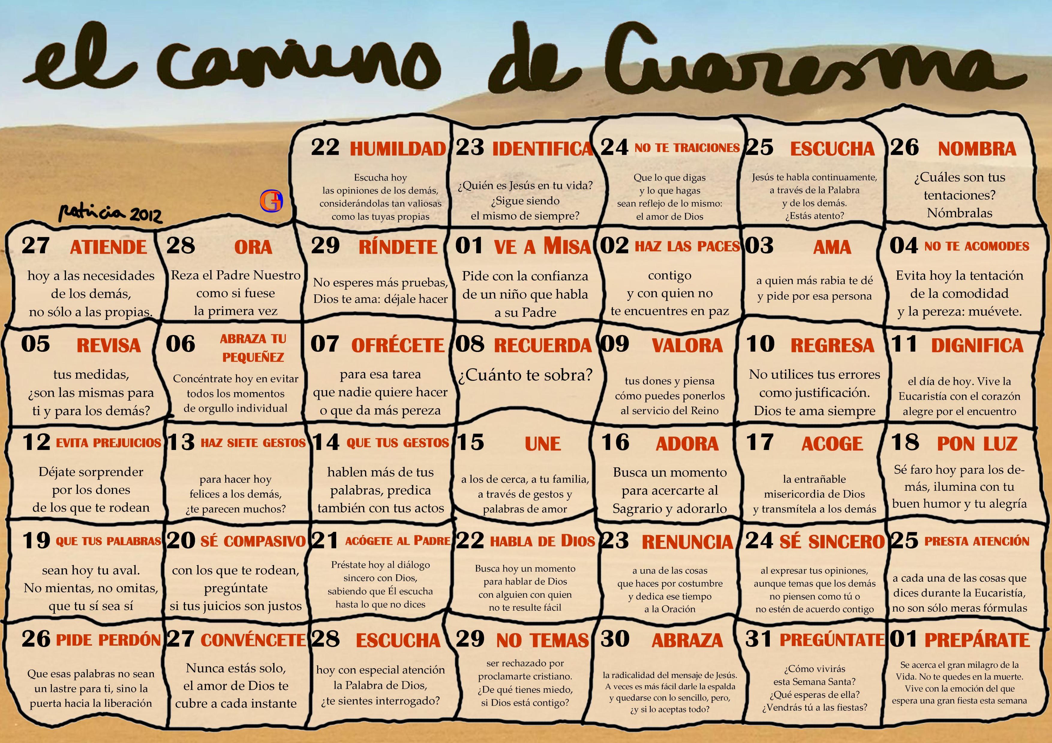 Calendario de Cuaresma 2012 | Parroquia de Barciela - Sigüeiro