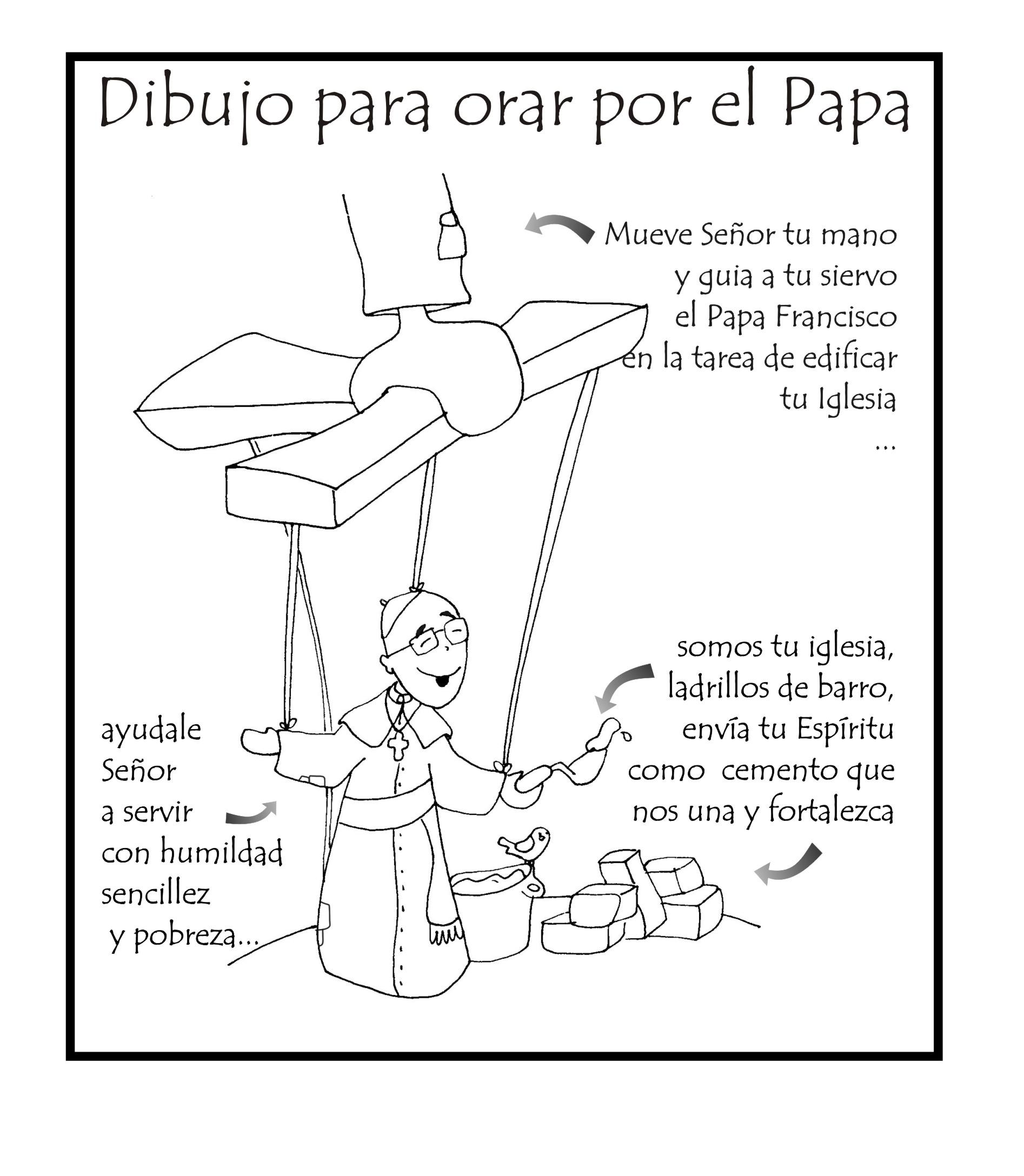 Un dibujo de Patxi para orar por el Papa… para Colorear – Odres Nuevos