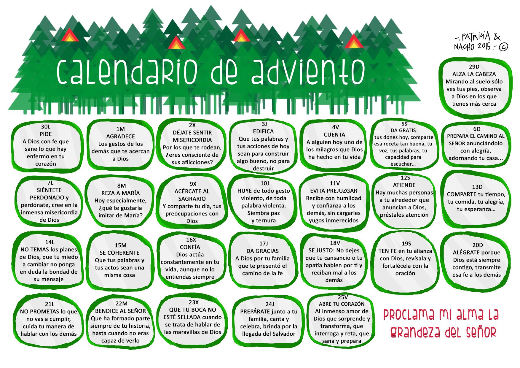 Parroquia la inmaculada cinco calendarios de adviento 2015 for Calendario adviento ninos