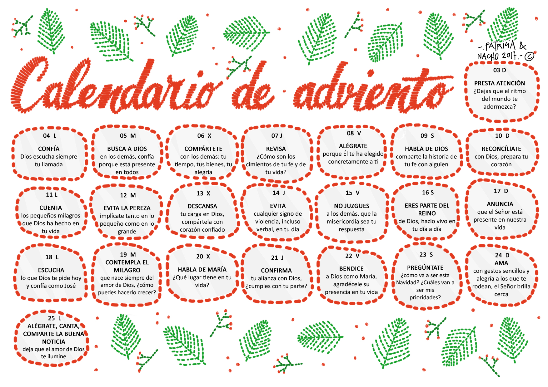 Adviento Calendario.Parroquia La Inmaculada Calendario Adviento 2017