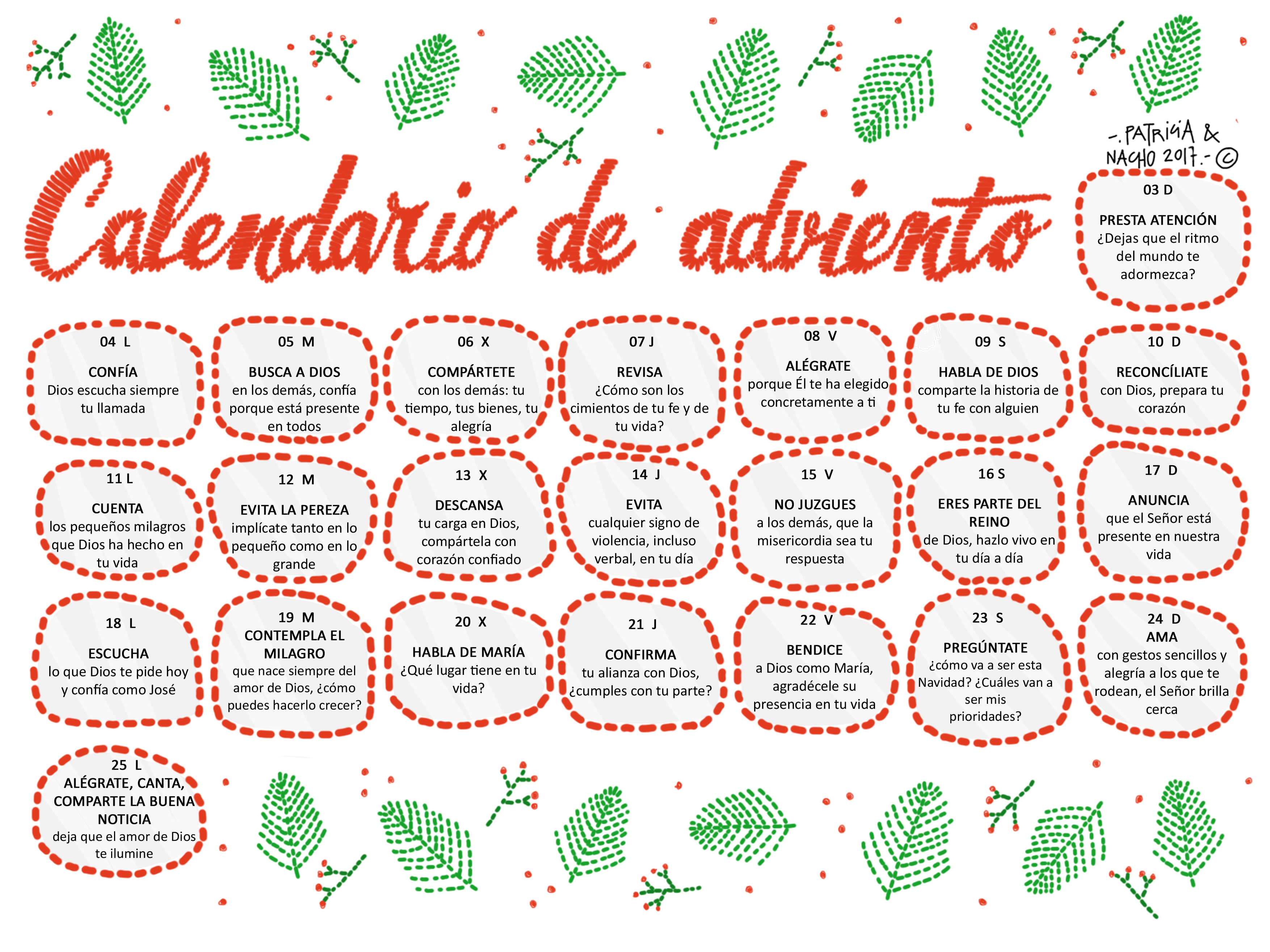 calendario de adviento 2017 odres nuevos ForCalendario Adviento 2017