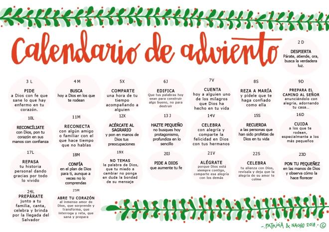 Adviento Calendario.Parroquia La Inmaculada Calendario De Adviento 2018